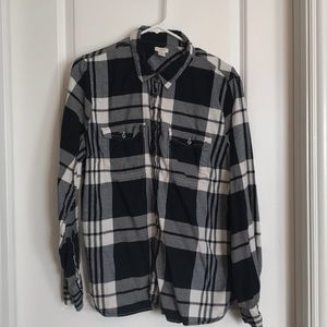 JCrew Black and White Flannel XL